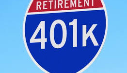 401(k) sign close up